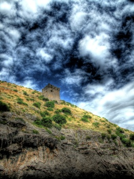 Old Saracin fort on a hill along the Amalfi Coast